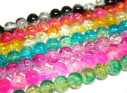 4mm multi-colour crackled glass beads